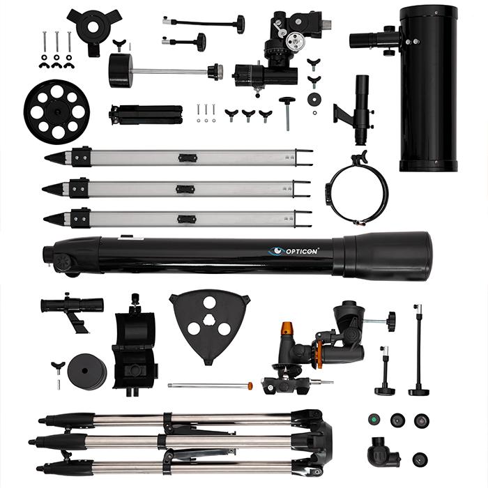 elementy teleskopu, tuba optycza, szukacz, statyw, okulary