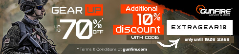 Up to -10% extra on gear at Gunfire!